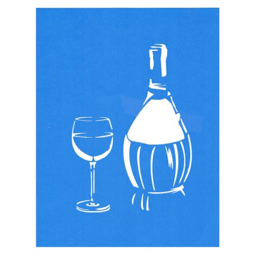 Wine Bottle and Glass Stencil