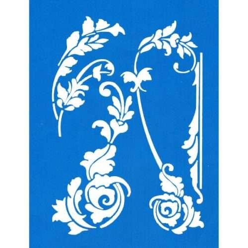 Scroll Leaves Stencil