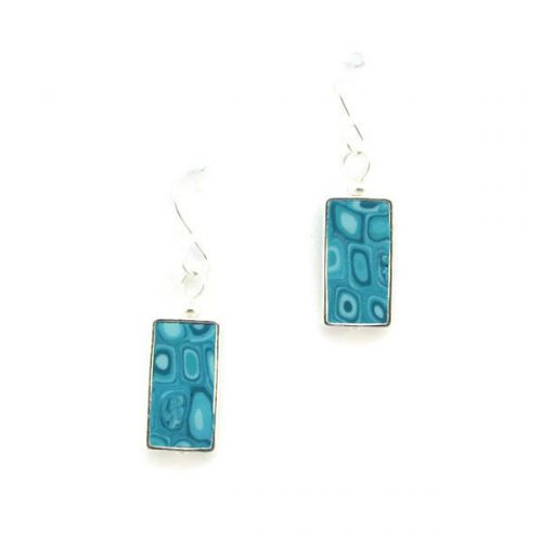 Aqua Mosaic Two Square Earrings