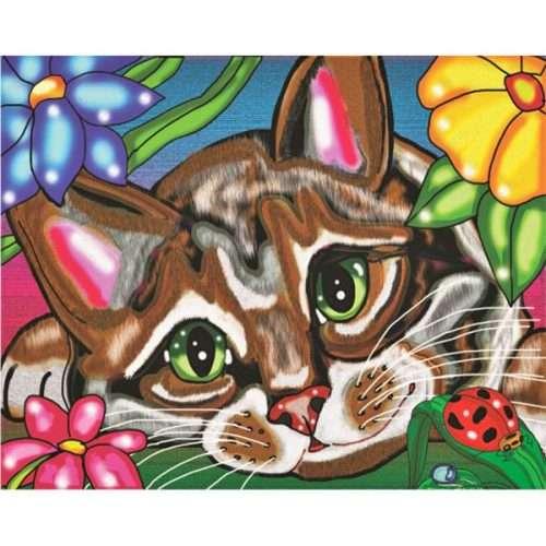 Cat in the Flowers Design Diamonds Painting Kit
