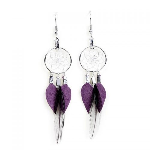 Purple Dream Catcher Feather Earrings