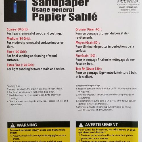 Sandpaper General Purpose Instructions